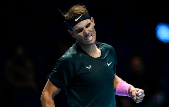 Rafael Nadal of Spain celebrates his victory over Andrey Rublev of Russia during Day 1 of the Nitto ATP World Tour Finals at The O2 Arena on November 15, 2020 in London, England.