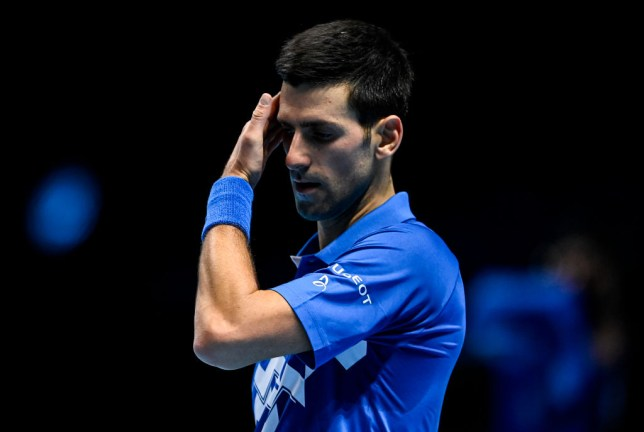 Novak Djokovic of Serbia looks dejected during his match against Daniil Medvedev of Russia during Day 4 of the Nitto ATP World Tour Finals at The O2 Arena on November 18, 2020 in London, England.