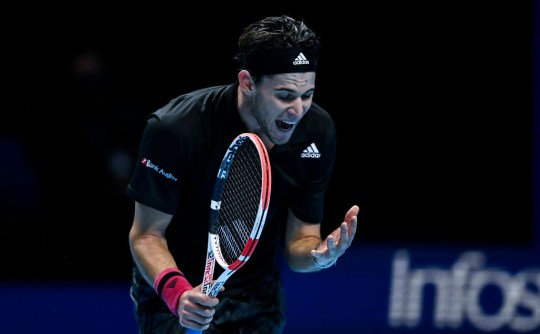Dominic Thiem of Austria looks dejected during his match against Daniil Medvedev of Russia during Day 8 of the Nitto ATP World Tour Finals at The O2 Arena on November 22, 2020 in London, England.