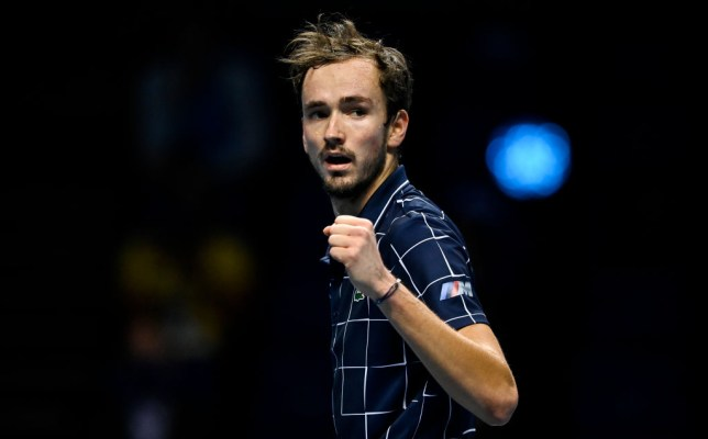LONDON, ENGLAND - NOVEMBER 22: Daniil Medvedev of Russia celebrates during his match against Dominic Thiem of Austria on Day 8 of the Nitto ATP World Tour Finals at The O2 Arena on November 22, 2020 in London, England.