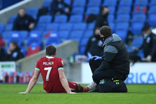 Jurgen Klopp will now be forced to cope without James Milner due to a hamstring injury