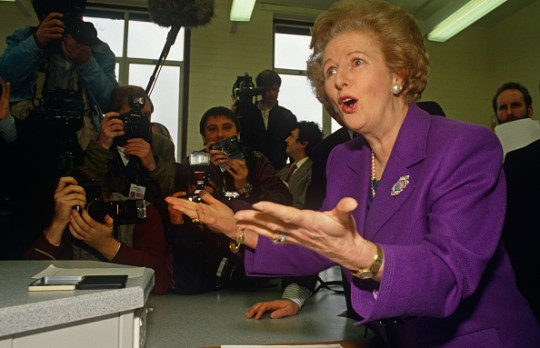 England - London - Margaret Thatcher campaigning with media