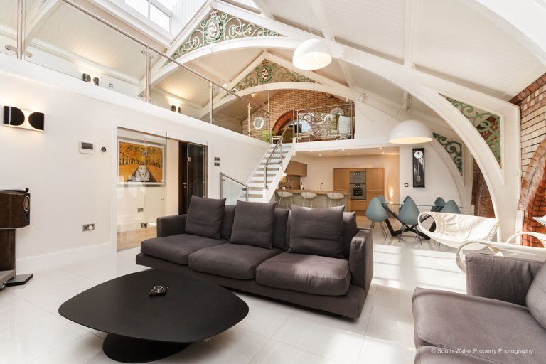 victorian municipal baths apartment on sale - living room