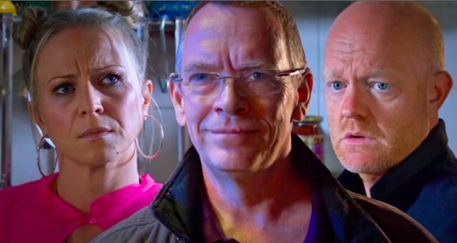 Kellie Bright, Jake Wood and Adam Woodyatt as Linda Carter, Max Branning and Ian Beale in EastEnders