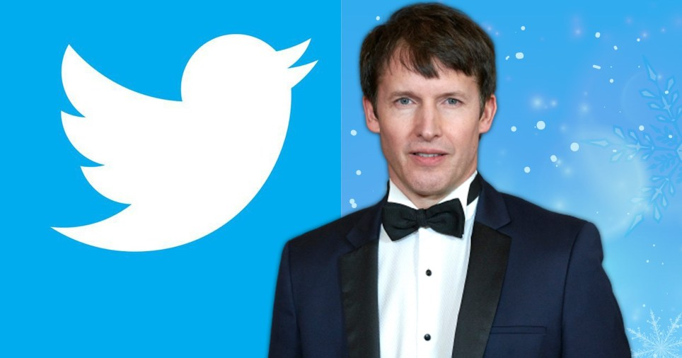 James Blunt pictured alongside Twitter logo