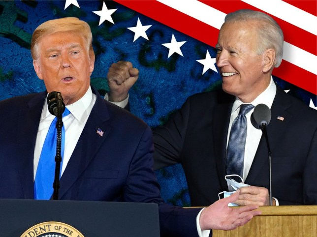 A split picture showing Donald Trump and Joe Biden