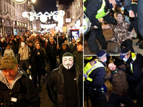 Violence breaks out at anti-mask march on first night of second lockdown