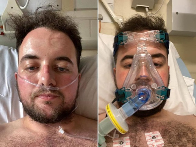 Aaron Davenport spent six days in hospital with Covid-19 during which time he was hooked up to a breathing machine and treated with an antiviral drug