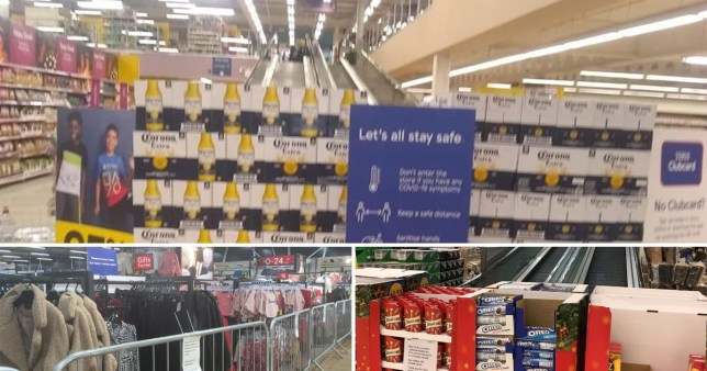 Tesco barricades 'non-essential' items with beer and chocolates