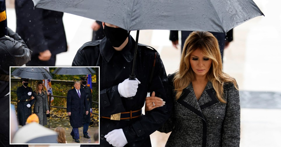 Melania Trump and Donald Trump with military men at Arlington Ceremony