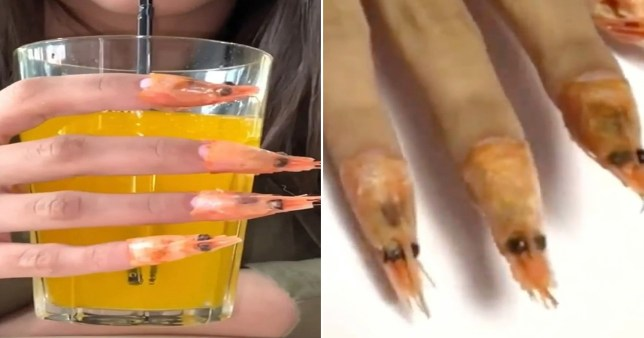 pictures of a woman's prawn manicure