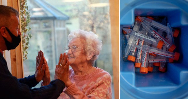 Care home resident is reunited with her son via a plastic screen. Also shown are some coronavirus tests in a container
