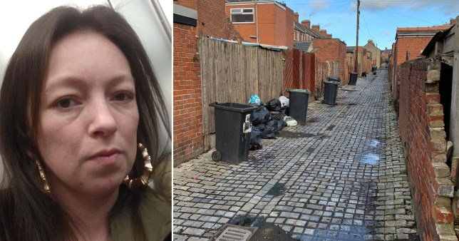 Stacey Storey, from Bishop Auckland, County Durham, who was prosecuted by Durham County Council and taken to Newton Aycliffe Magistrates' Court for leaving her rubbish bags outside after her bin was stolen - rubbish pictured