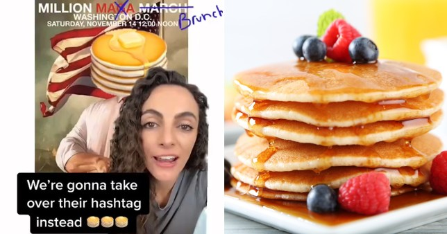 A stack of pancakes can be seen next to an image of a woman