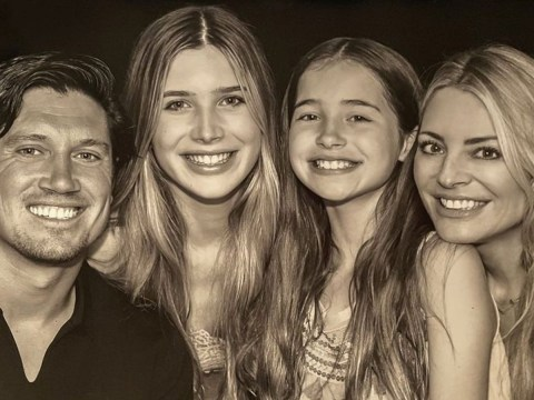 Tess Daly shares rare photo of Vernon Kay and daughters as she 'laughs and cries' during I'm A Celebrity