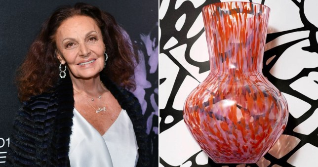 An image of Diane Von Furstenberg alongside a vase, which is one of her designs for H&M Home.