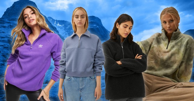 Collage of Adidas, Weekday, Market and Urban Outfitters fleeces