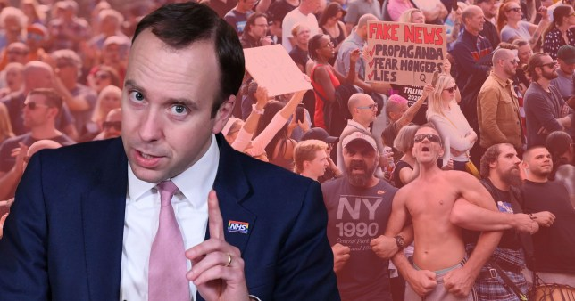 Health Secretary Matt Hancock and backdrop showing anti-vaxxer protesters