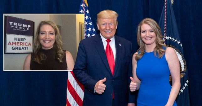 Jenna Ellis with Donald Trump and at home with a Trump poster