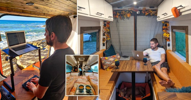 courtney stevens and james mechan sold their stuff and bought a van, in which they live and travel the UK and Europe