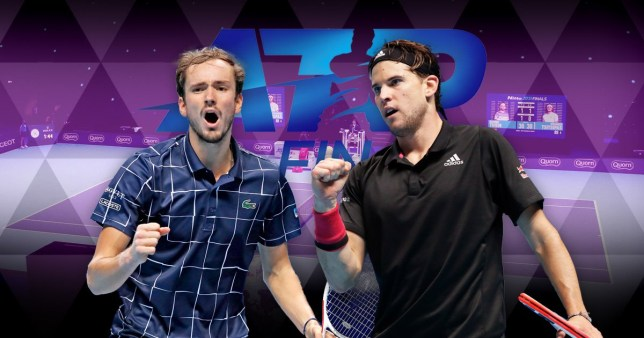 ATP Finals finalists Daniil Medvedev and Dominic Thiem look on