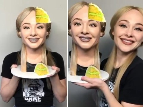 Baker makes an incredible selfie cake and even takes a slice out of her head