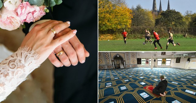 Compilation image of a wedding, outdoor football and a worshipper.