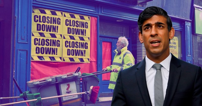 Rishi Sunak against a back drop of businesses closing down.