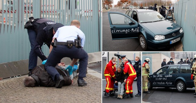 A man in a wheelchair was pictured being taken away from the scene