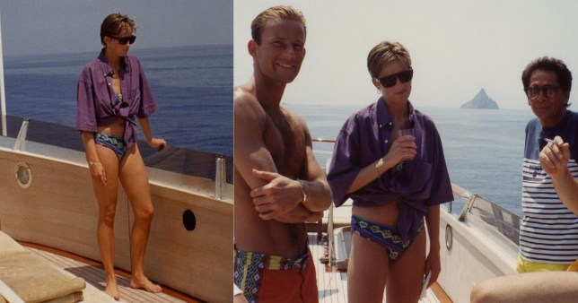 Princess Diana smiles in the pictures on board a yacht