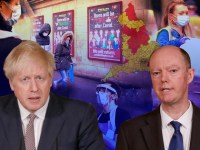 Boris Johnson, Professor Chris Whitty, people wearing face masks and a map of the new three tier system for England