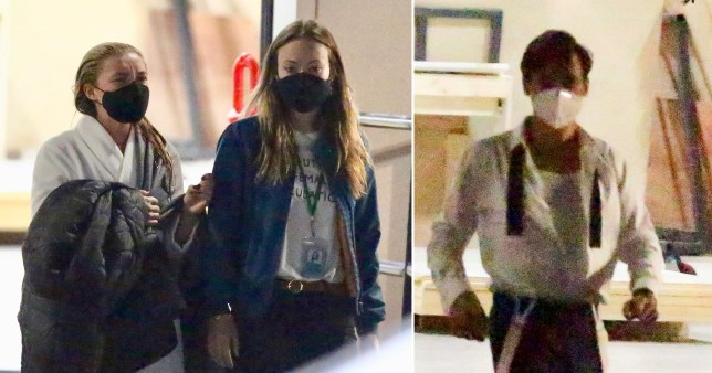 Harry Styles, Florence Pugh and Olivia Wilde on set.