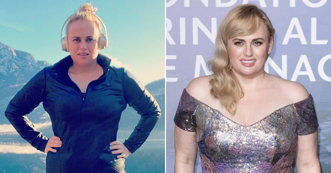Rebel Wilson pictured in gym gear and on red carpet