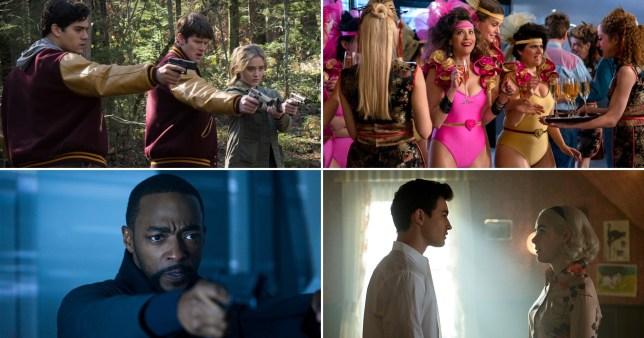 Compilation of Netflix shows - The Society, Altered Carbon, Glow and Chilling Adventures of Sabrina