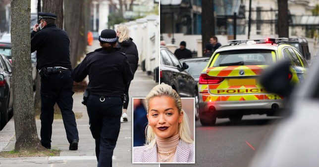 Police outside Rita Ora's home after 30th birthday party