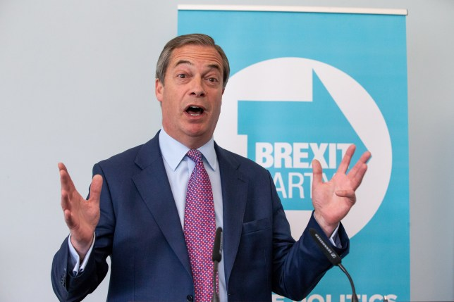 Nigel Farage addresses the media during the Brexit Party's first press conference of the European election campaign on May 07, 2019 in London, England.