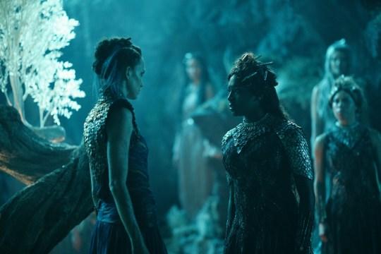 Witches Serafina Pekkala (Ruta Gedmintas) and Ruta Skadi (Jade Anouka) in His Dark Materials