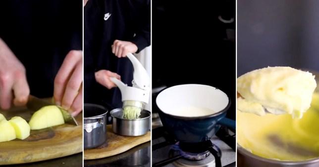 Man making mash potato using boiled milk