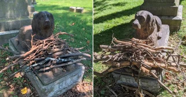 People leave sticks at dog grave