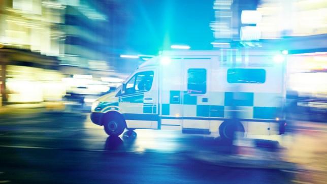 Ambulance car hurrying to take hurt person to hospital
