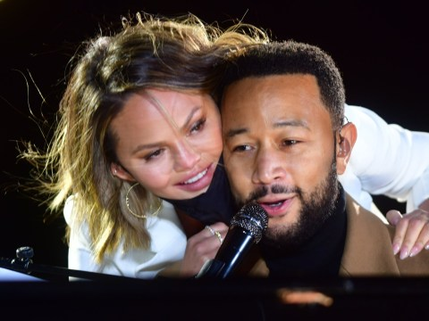 Chrissy Teigen makes first public appearance since death of baby Jack as she and kids join John Legend at Joe Biden rally
