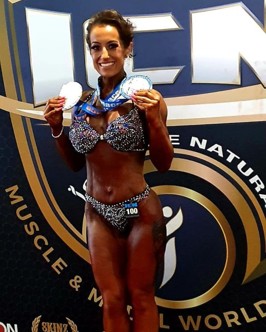 Mum of seven with cancer seen with her bodybuilding medals
