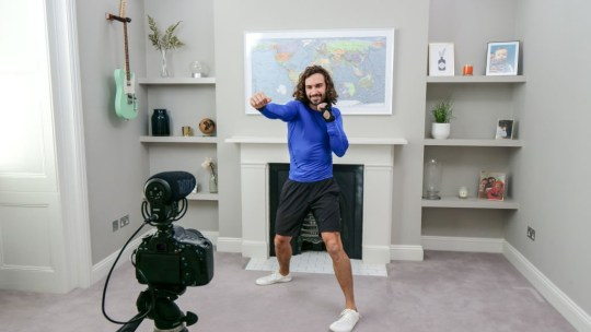 LONDON, ENGLAND - APRIL 23: In this screengrab, Joe Wicks takes part in the BBC Children In Need and Comic Relief 'Big Night In at London on April 23, 2020 in London, England.The 'Big Night In' brings the nation an evening of unforgettable entertainment in a way we've never seen before. Raising money for and paying tribute to those on the front line fighting Covid-19 and all the unsung heroes supporting their communities. (Photo by Comic Relief/BBC Children in Need/Comic Relief via Getty Images)