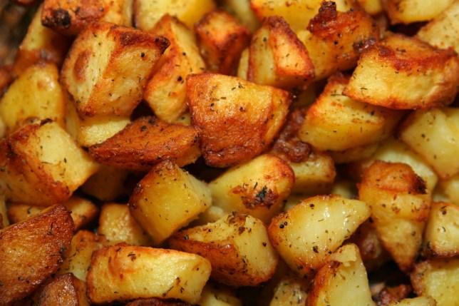 closeup of seasoned roast potatoes