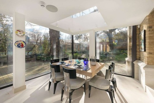 dining area in church conversion home