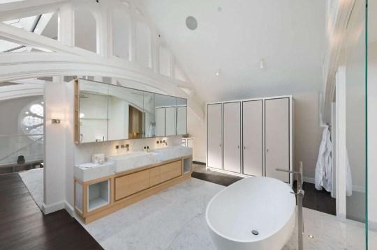 bathroom in church conversion home