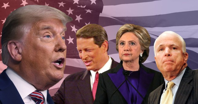 Donald Trump, Al Gore, Hilary Clinton and John McCain's faces in front of the US flag