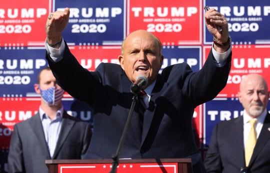 epa08805231 Trump lawyer Rudy Giuliani speaks during a press conference after Joe Biden was declared as winner of the 2020 Presidential Election in Philadelphia, Pennsylvania, USA, 07 November 2020. EPA/JUSTIN LANE