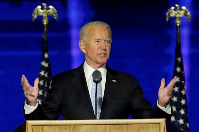Democratic 2020 U.S. presidential nominee Joe Biden addresses supporters at an election rally, after news media announced that Biden has won the 2020 U.S. presidential election, in Wilmington, Delaware, U.S., November 7, 2020. Andrew Harnik/Pool via REUTERS