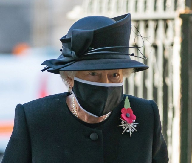 Queen Elizabeth arrives for a ceremony to mark the centenary of the burial of the Unknown Warrior in London's Westminster Abbey, Britain November 4, 2020. Picture taken November 4, 2020. Aaron Chown/Pool via REUTERS